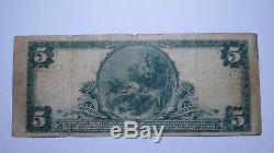 5 $ 1902 Billet De Billet De Banque En Monnaie Nationale Piqua Ohio Oh!