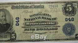5 $ 1902 Brownsville Pennsylvania Pa Banque Nationale Monnaie Note Le Projet De Loi # 648 Fine