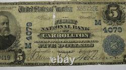 $5 1902 Carrollton Missouri Mo National Currency Bank Note Bill! Ch. #4079 Rare