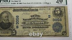 $5 1902 Denison Texas Tx National Currency Bank Note Bill Ch. #3058 Vf20 Pmg