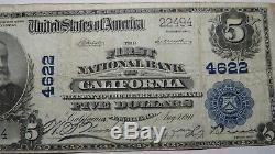 5 $ 1902 En Californie Pennsylvania Pa Banque Nationale Monnaie Note Bill! Ch # 4622 Vf