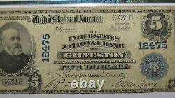$5 1902 Galveston Texas Tx National Currency Bank Note Bill! Ch. #12475 Pmg F15