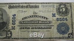 $ 5 1902 Granite City Illinois IL Banque Nationale Monnaie Note Bill! Ch. # 6564