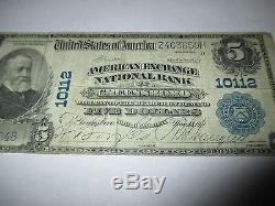 $ 5 1902 Greensboro North Carolina Nc Note De La Banque Nationale De Billets Bill! Ch # 1459