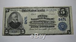 5 $ 1902 Hoosick New York, Ny Banque Nationale Monnaie Note Bill! Ch. # 2471 Vf