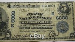 5 $ 1902 Jacksonville En Floride Fl Banque Nationale Monnaie Note Bill! Ch. # 6888 Fin
