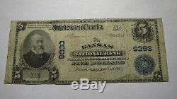 5 $ 1902 Kansas Illinois IL Banque Nationale Monnaie Note Bill! Ch. # 9293 Fin