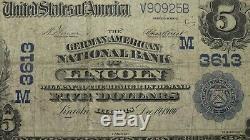 $ 5 1902 Lincoln Illinois IL Billet De Banque National Monnaie Bill Ch. 3613 Titre Rare