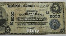 $5 1902 Munising Michigan MI National Currency Bank Note Bill! Ch #9000 Alger Co
