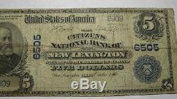 5 $ 1902 New Lexington Ohio Oh Banque Nationale Monnaie Note Bill! Ch. # 6505 Rare