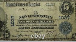 $5 1902 New London City Connecticut Ct National Currency Bank Note Bill! #1037