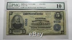 $ 5 1902 Oakland Californie Ca Banque Nationale Monnaie Note Bill! Ch. # 9502 Pmg