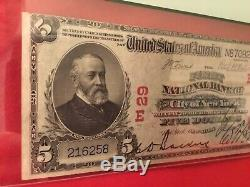 5 $ 1902 Premier Nb, New York Ny Red Seal Banque Nationale Monnaie Note Charte 29