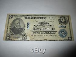 $ 5 1902 Richmond Indiana En Billet De Banque De La Monnaie Nationale Bill! Ch. # 1988 Vf