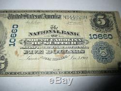 5 1902 $ Sumter Caroline Du Sud Banque Nationale De Billets De Banque Note! Ch. # 10660 Rare
