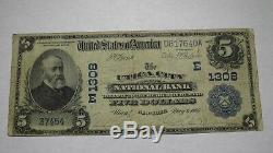 5 $ 1902 Utica New York City Ny Banque Nationale Monnaie Note Bill! Ch. # 1308 Fin