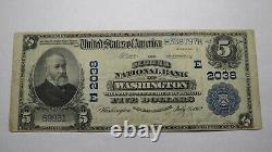 5 $ 1902 Washington D. C. Banque Nationale Monnaie Note Le Projet De Loi # 2038 District Columbia