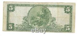 5 $. 1922 Youngstown Ohio Banque Nationale Monnaie Note Bill Ch. # 3 Grand Format