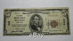 5 $ 1929 À New York Ny Batavia Banque Nationale Monnaie Note Bill Ch. # 340 Rare