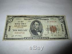 5 $ 1929 Anadarko Oklahoma Ok Monnaie Nationale Note De Banque Bill Ch. # 5905 Vf