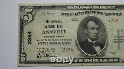 5 1929 Annville Pennsylvania Ap National Monnaie Banque Note Bill Ch. #2384 Vf+