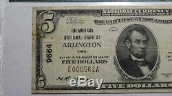 $ 5 1929 Arlington Iowa Ia Banque Nationale Monnaie Note Bill Ch. # 9664 Vf25 Pmg