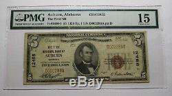 $ 5 1929 Auburn Alabama Al Banque Nationale Monnaie Note Bill Ch. # 12455 Fine Pmg