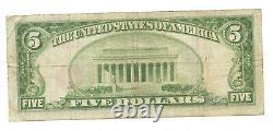 5 $. 1929 Austin, Banque Nationale Monnaie Minnesota Note Bill Ch. # 1690