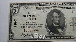 5 $ 1929 Belen Nouveau-mexique Nm Banque Nationale Monnaie Note Bill! Ch. # 6597 Xf + Rare