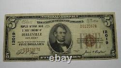 5 $ 1929 Belleville New Jersey Nj Banque Nationale Monnaie Note Bill Ch # 12019 Rare