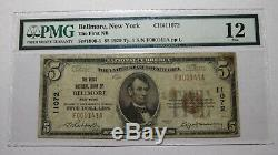 5 $ 1929 Bellmore New York, Ny Banque Nationale Monnaie Note Bill Ch. # 11072 Pmg F12