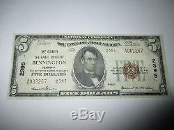 5 $ 1929 Bennington Vermont Vt National Currency Note De La Banque Bill Ch. # 2395 Vf ++