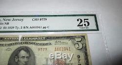 $ 5 1929 Berlin New Jersey Nj Billet De Banque National Bill Ch. # 9779 Vf Pmg