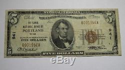 5 $ 1929 Billet De Banque En Devise Nationale Portland Maine Me National Bill Ch. # 941 Vf