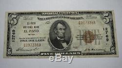 5 $ 1929 Billet De Banque En Monnaie Nationale El Paso Texas Tx! Ch. # 12769 Vf +