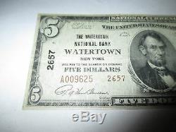 5 $ 1929 Billet De Banque National En Devise De Watertown New York, Ny, Bill Ch. # 2657 Vf