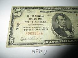 5 $ 1929 Billet De Banque National En Devise De Whitinsville, Massachusetts, Ma Bill No 769 Amende