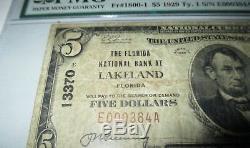 5 $ 1929 Billet De Banque National En Devise Lakeland, Floride, Fl! Ch # 13370 Fine Pmg