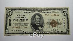 5 $ 1929 Billet De Banque National En Monnaie Nationale De Santa Monica, Californie, Bill Ch # 12787 Vf