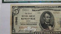 5 $ 1929 Billet De Billet De Banque De La Monnaie Nationale Kingsville Texas Tx! Ch. # 12968 Vf Pmg