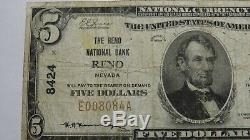 5 $ 1929 Billet De Billets De Banque En Monnaie Nationale De 1929 Reno Nevada Nv! Ch. # 8424 Fin! Rare