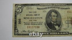 $ 5 1929 Binghamton New York, Ny Banque Nationale Monnaie Note Bill! Ch. # 202 Rare