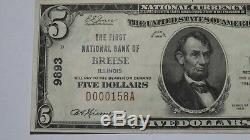 5 $ 1929 Breese Illinois IL Facture Billet De Banque! Ch. # 9893 Xf ++