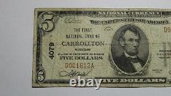 5 1929 Carrollton Missouri Mo Monnaie Nationale Banque Note Bill Ch. #4079 Rare