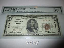 5 1929 $ Celina Ohio Oh National Billet De Banque Bill Ch. # 5523 Vf 35! Pmg
