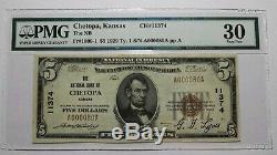 5 $ 1929 Chetopa Kansas Ks Billet De Banque National - Billets # 11374 Vf30! Pmg