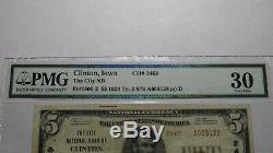 $ 5 1929 Clinton Iowa Ia Banque Nationale Monnaie Note Bill Ch. # 2469 Vf30 Pmg