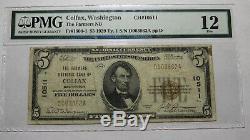 $ 5 1929 Colfax Washington Wa Banque Nationale Monnaie Note Bill # 10511 Fine Pmg