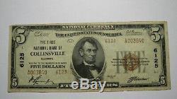 $ 5 1929 Collinsville Illinois IL Banque Nationale Monnaie Note Bill! Ch. # 6125 Vf