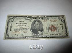 5 $ 1929 Dawson Texas Tx Monnaie De Banque Nationale Note Bill Ch. # 10694 Fine